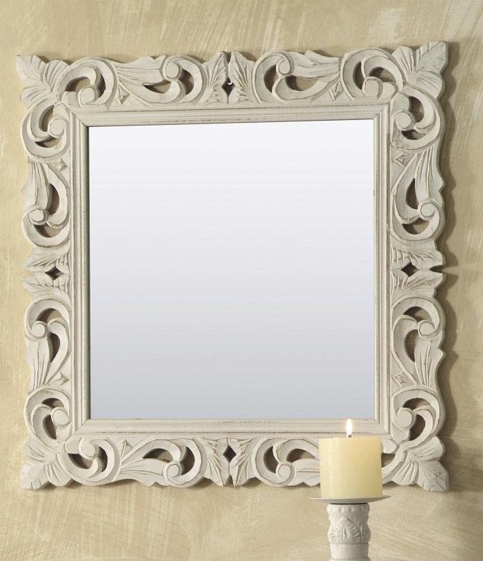 specchio legno bianco quadrato 60x60cm artemisia