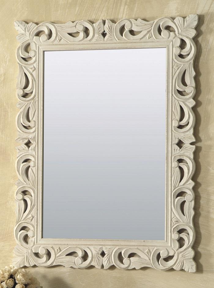 Specchio legno bianco rettangolare 60x80cm artemisia - Cornici specchio bagno ...