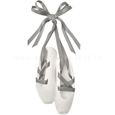 decorazione in gesso profumato a forma di scarpette da danza con nastrino in raso grigio - ideale da appendere