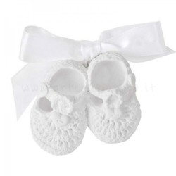 decorazione in gesso profumato a forma di scarpine da bebè all'uncinetto - ideale da appendere - Mathilde M