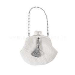 decorazione in gesso profumato a forma di borsellino con nappina in raso grigio - ideale da appendere - Mathilde M