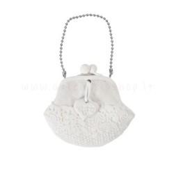 decorazione in gesso profumato a forma di borsellino con cuoricino - ideale da appendere - Mathilde M