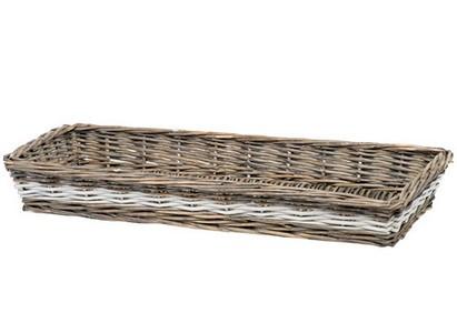 cestino in vimini rettangolare grande con bordi bassi
