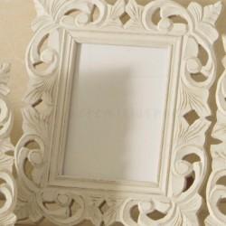 cornice bianca in legno lavorato traforato shabby - 13x18