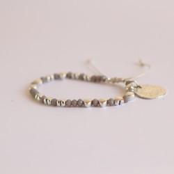 Bracciale cristalli e metallo con cuore grigio