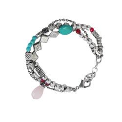bracciale-tre-file-pietra-rosa-metallo
