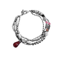 bracciale-tre-file-pietra-rosso-metallo