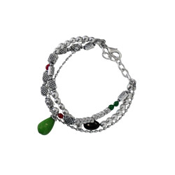 bracciale-tre-file-pietra-verde-metallo