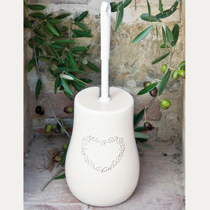 Porta scopino bagno cuore bianco ceramica artemisia - Porta scopino bagno ...