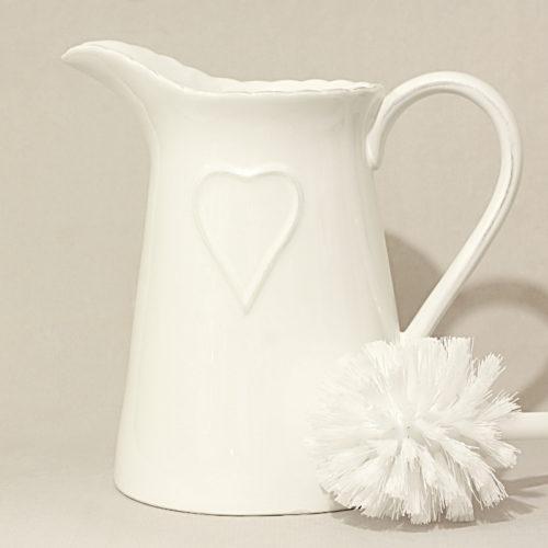 Porta scopino con cuore allungato bianco - Porta tovaglie bagno ...