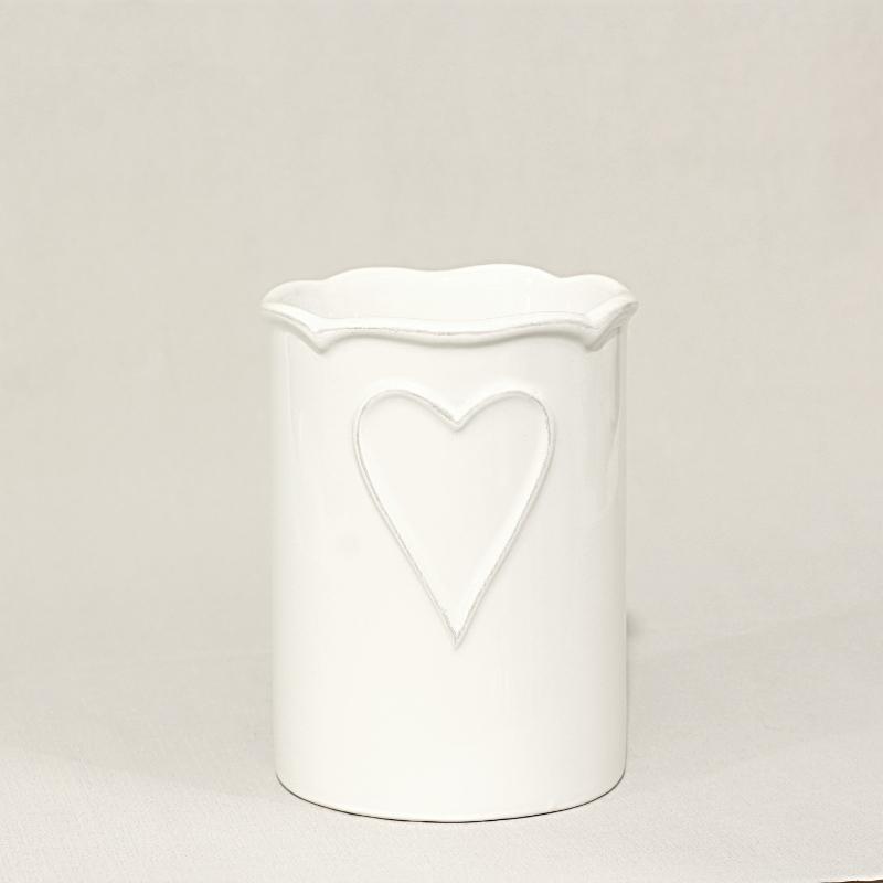 Porta spazzolini con cuore allungato bianco artemisia - Porta tovaglie bagno ...
