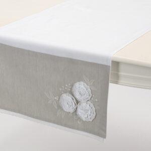 runner-bianco-beige-ricamo-roselline-chiffon-amadeus