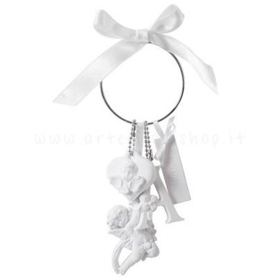 decorazione in gesso profumato a forma di angioletto e cuore - ideale per appendere - Mathilde M