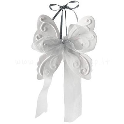 decorazione in gesso profumato a forma di farfalla con iocco in organza grigio - ideale da appendere - Mathilde M