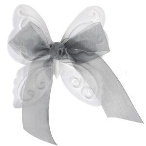 decorazione in gesso profumato a forma di farfalla con fiocco in organza grigio - ideale da appendere - Mathilde M