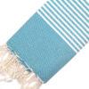 Telo mare FOUTA con linee bianche su tutta la lunghezza a tessitura classica: piatta e leggerissima. Colore turchese petrolio