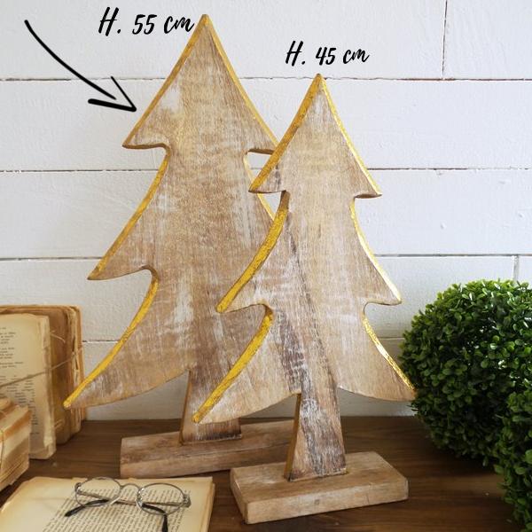 albero di natale in legno con profili oro