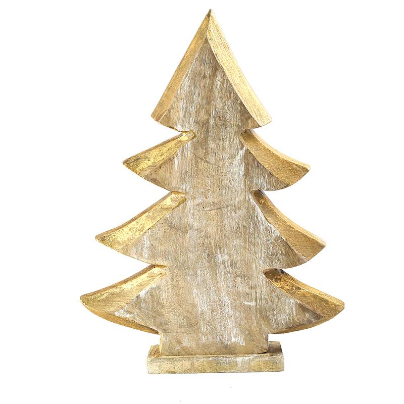 Albero Natale LEGNO oro 40cm