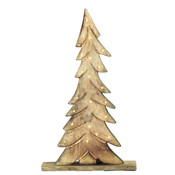 Albero Natale LEGNO/VERDE con lucine LED 60cm