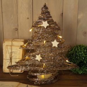 albero din natale in vimini con brillantini luci e stelle di legno