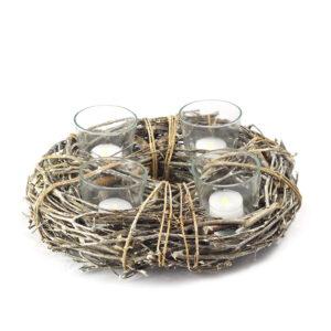 Centrotavola in VIMINI con candele Tealight