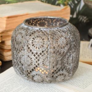 lanterna piccola in metallo traforato arabeggiante colore grigio