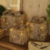 pacco regalo in vimini e luci led misura 25 cm