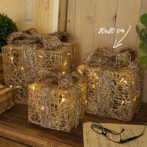 pacco regalo in vimini e luci led misura 20 cm