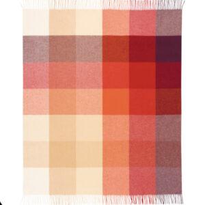 Plaid quadratoni TERRA (Panna/Sabbia/Mattone/Rosso)