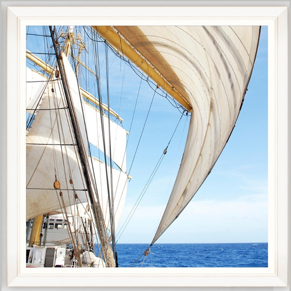 quadro fotografico barca a vela con cornice bianca