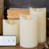 set 3 candele a led con telecomando colore biancol panna