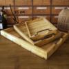 vassoio legno a doghe con manici in metallo brunito intermedio45 cm