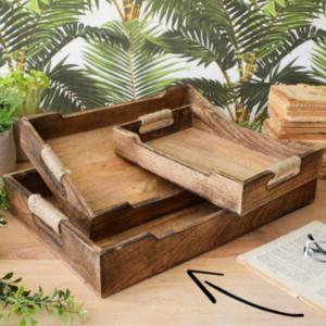 vassoio legno e corda misura grande 45 cm