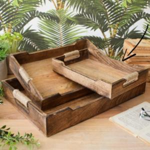 vassoio legno e corda misura piccola 30 cm
