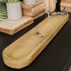 vassoio ovale in legno massello chiaro rustico ovale e lungo